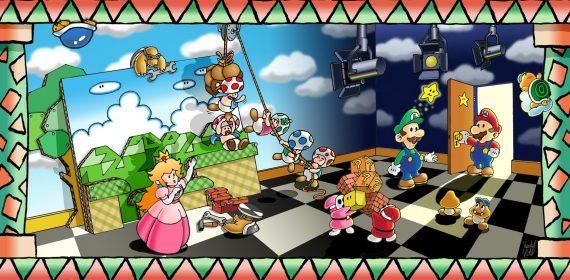 L'arrivée de Mario dans une pièce ressemblant à des coulisses où ses amis s'affairent