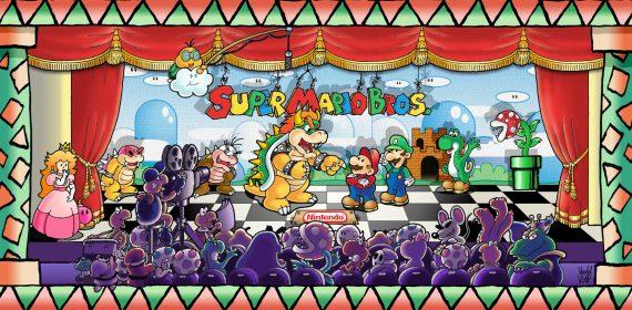 Un théâtre regroupant tous les personnages de Mario tant sur la scène que dans le public