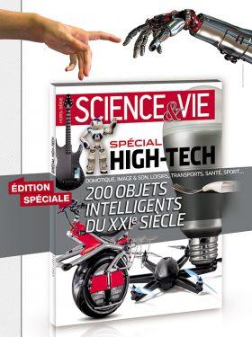 Affiche annonçant la sortie du magazine Science & Vie spécial High-Tech de 2014, visuel (inspiré de la Chapelle Sixtine) d'une main humaine tendue vers une main robotique