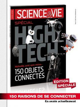 Annonce presse pour la sortie du magazine Science & Vie spécial High-Tech de 2015 et visuel d'un robot qui sort du magazine