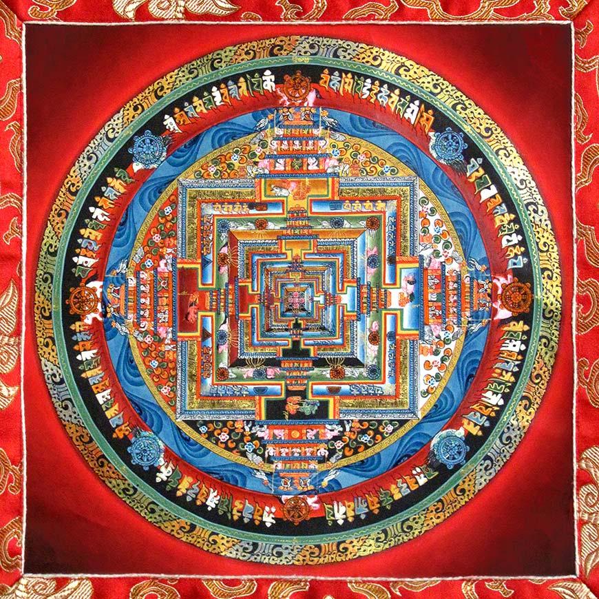 Photographie d'un Thanka original (peinture du Népal) représentant le mandala de Kalachakra - le diagramme du palais de cette divinité