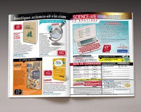 Magazine Science & Vie ouvert sur une double page de sa boutique de vente à distance
