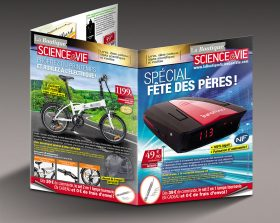 Encart trois volets deux plis roulés de la boutique de vente à distance de Science & Vie