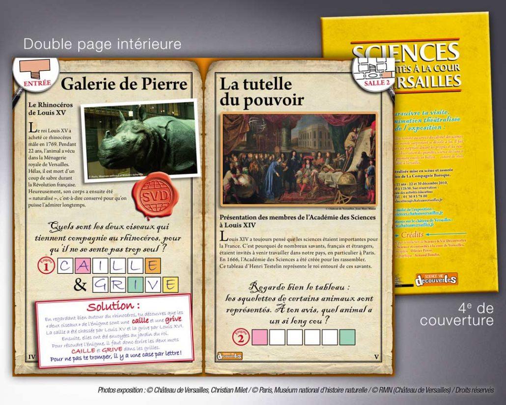 Photo d'un fascicule de jeux pour enfants lors d'une exposition au château de Versailles