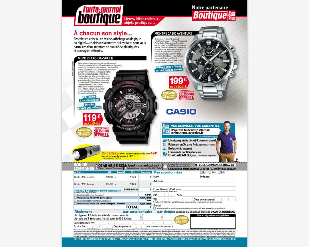 Une page du magazine L'Auto-Journal présentant deux montres à la vente avec un bon de commande