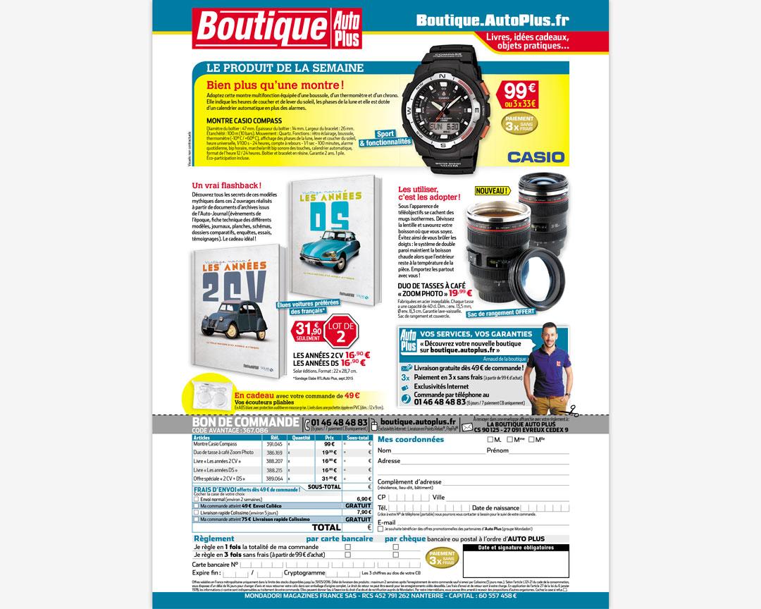 Une page du magazine Auto Plus présentant des articles à la vente avec un bon de commande